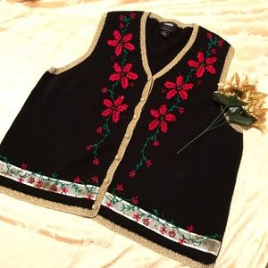 Poinsettia Embroidered Beaded Christmas Vest 3X